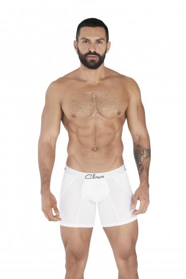 clever Мужские трусы боксеры удлиненные  белые в сетку Clever TIME LONG BOXER 036601