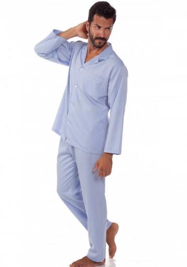b&b Классическая мужская пижама на пуговицах в голубых тонах B&B_2964