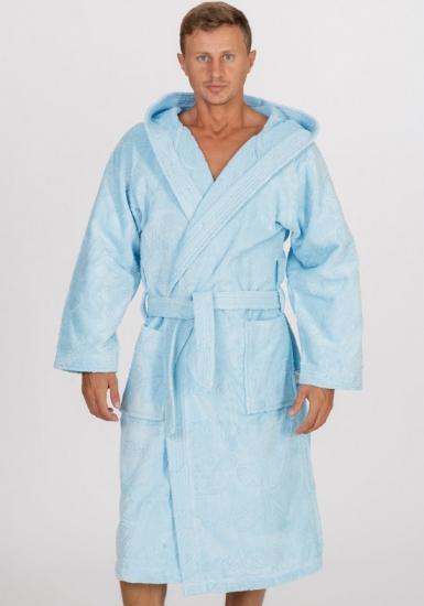 baci & abbracci Классический длинный халат с капюшоном и поясом B&A_ Velour uomo celeste