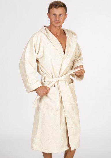 baci & abbracci Мужской велюровый махровый халат с капюшоном B&A_ Velour uomo panna