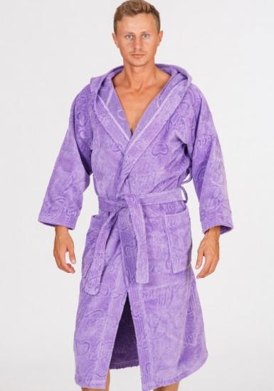 baci & abbracci Длинный халат из велюровой махры, свободный, сиреневый B&A_ Velour uomo viola