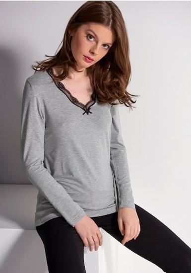 rebecca & bross. Черные леггинсы для дома с серой блузой R&B_3802