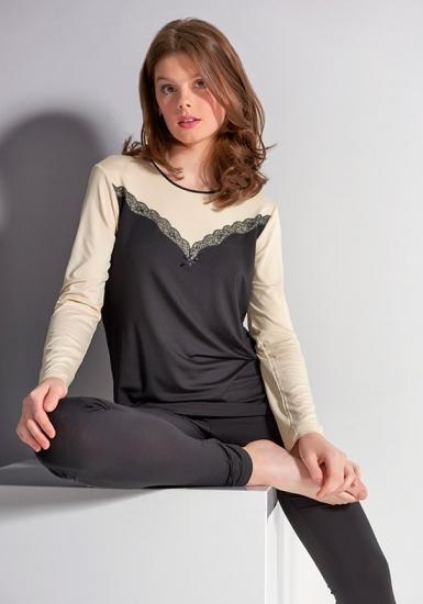 rebecca & bross. Черная женская пижама с кружевной отделкой R&B_3807