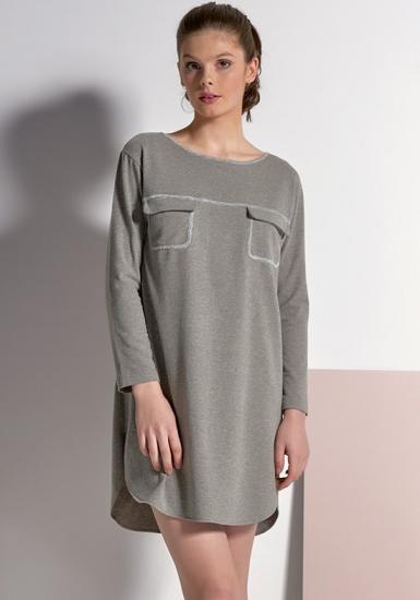 rebecca & bross. Серое домашнее платье c серебристой отделкой R&B_3834
