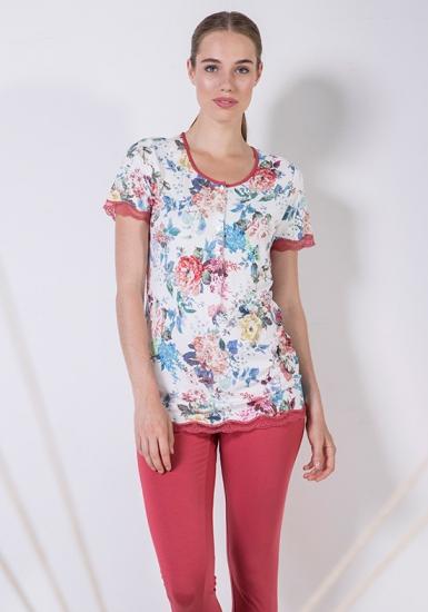 rebecca & bross. Пижама женская из модала с цветочным рисунком R&B_3912