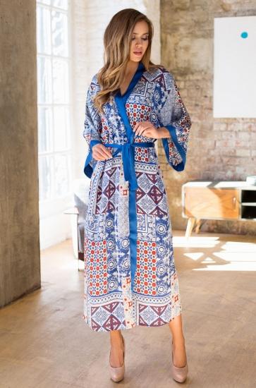 "mia-mia Халат домашний женский ""Sophi"" 17569 размер 170-104(XL/XXL) синий орнамент"
