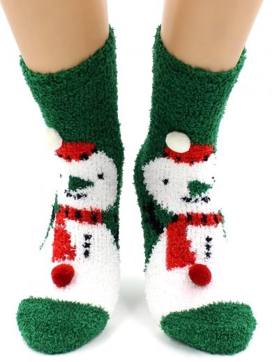 "HOBBY 068-8 носки махровые-травка ""Снеговик на зеленом и шарики 3Д"""