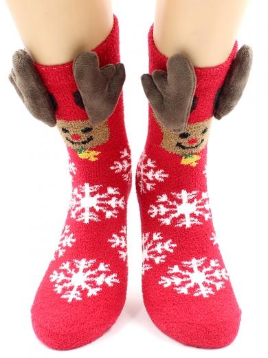 """HOBBY 2217-3 носки махровые-пенка """"Новогодние, олень, рога"""""""
