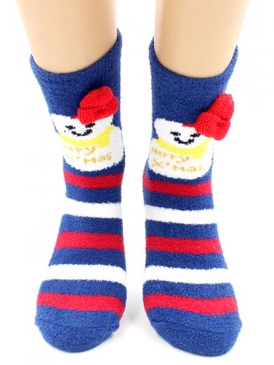 """HOBBY 2220-1 носки махровые-пенка """"Новогодние, снеговики, шапка"""""""