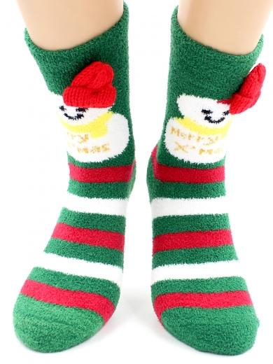 """HOBBY 2220-2 носки махровые-пенка """"Новогодние, снеговики, шапка"""""""