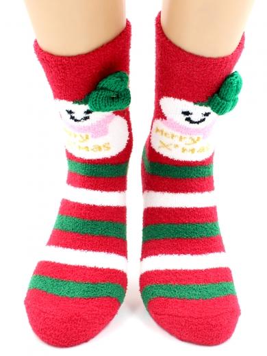 """HOBBY 2220-3 носки махровые-пенка """"Новогодние, снеговики, шапка"""""""