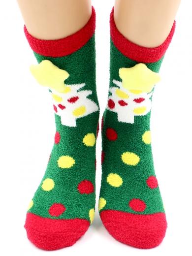 """HOBBY 2222-2 носки махровые-пенка """"Новогодние, елочки 3Д"""""""