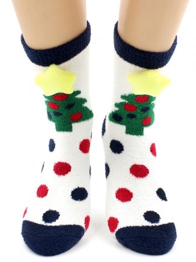 """HOBBY 2222-3 носки махровые-пенка """"Новогодние, елочки 3Д"""""""