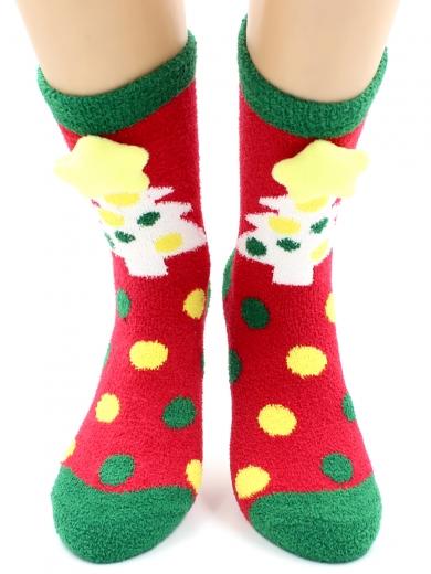 """HOBBY 2222-5 носки махровые-пенка """"Новогодние, елочки 3Д"""""""