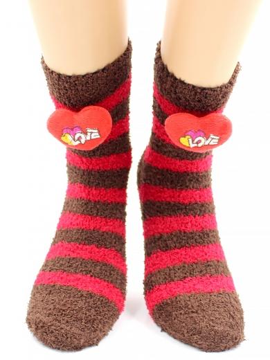 """HOBBY 2347-8 носки махровые-травка, в полоску, """"Сердечко 3Д"""""""