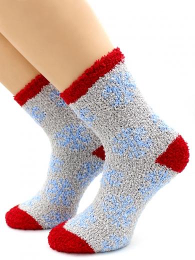 """HOBBY 069 носки махровые-травка люрекс """"Голубые снежинки"""""""