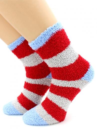 """HOBBY 069-2 носки махровые-травка люрекс """"Новогодняя полоска"""""""