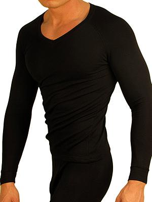 Doreanse Мужская термофутболка черная  с длинным рукавом v-образным вырезом 2980
