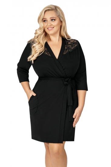 donna Tess plus dressing gown Black халат