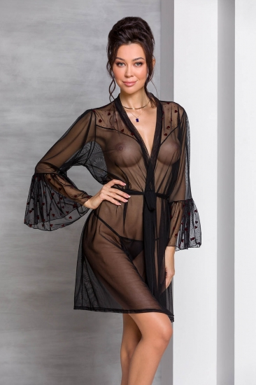 passion lingerie Lovelia peignoir Black пеньюар