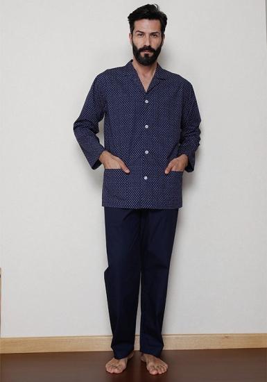 b&b Темно-синяя классическая пижама на пуговицах B&B_U7520