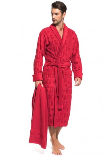 pÊche monnaie Махровый халат и полотенце Black Jack в подарочной коробке (PM France 937) халат-красный/полотенце-красное