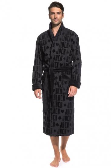 pÊche monnaie Набор: махровый халат и полотенце Black Jack в подарочной коробке (PM France) халат-черный/полотенце-черное