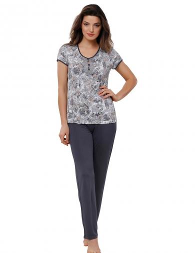 reina №408 Пижама принт с брюками размер XXL Принт_темно-серый