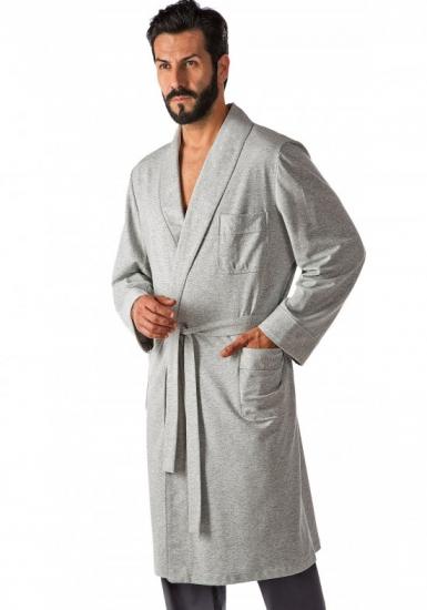 b&b Трикотажный однотонный мужской халат B&B_Cervino