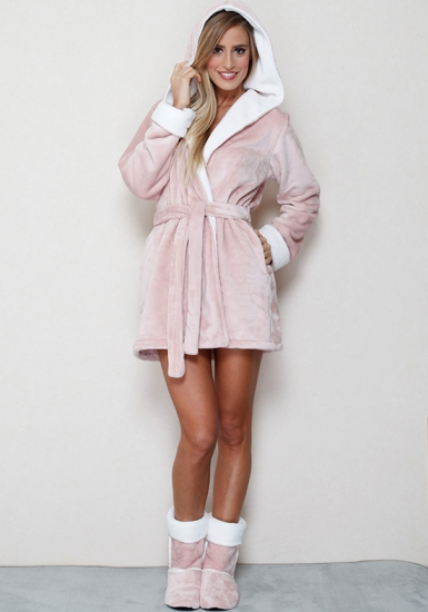 dolce vita Плюшевый розовый халатик с капюшоном Dolce Vita_17304