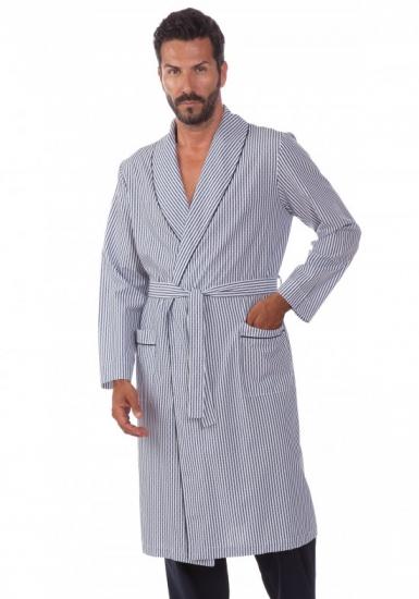 b&b Легкий мужской халат из 100% хлопка с поясом в полоску B&B_Ischia