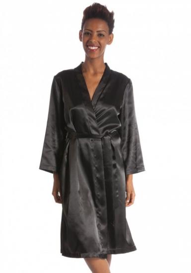 b&b Чёрный шелковый халат с карманами B&B_Julia nero