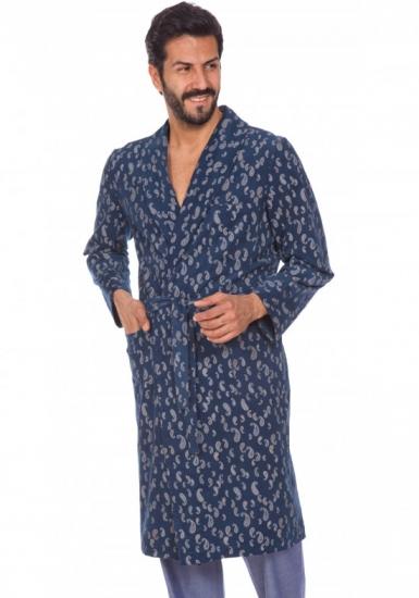 b&b Элегантный мужской вельветовый халат B&B_Laurence blue