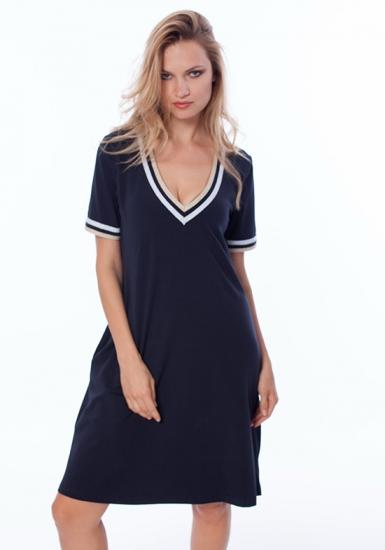 luna di giorno home Темно-синее летнее трикотажное платье LDG_661
