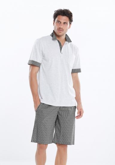 manam Мужские клетчатые шорты с футболкой-поло MU_9426