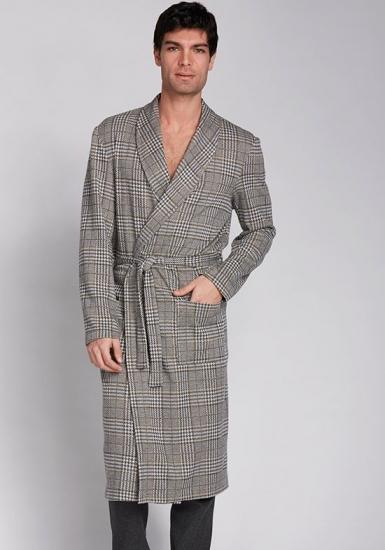manam Клетчатый мужской халат с карманами MU_9735