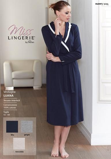 miss lingerie Длинный синий халат для женщин Diben_Luana