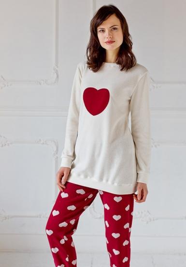 pop corn Теплая одежда для дома с сердцем на груди D7001