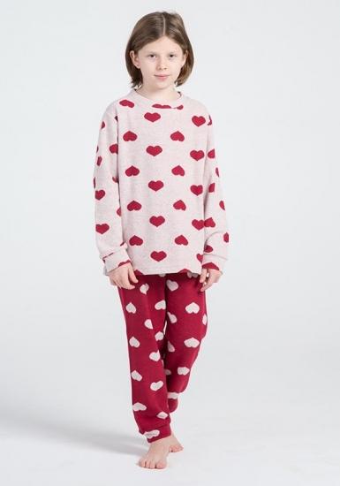 pop corn Домашний костюм  с сердечками для девочек R7013