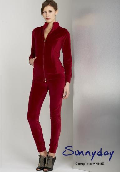 sunnyday Красивый женский велюровый костюм бордового цвета DiBen_Annie