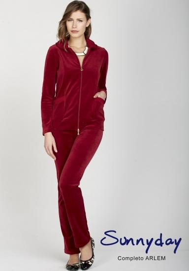 sunnyday Бордовый женский велюровый костюм для дома DiBen_Arlem