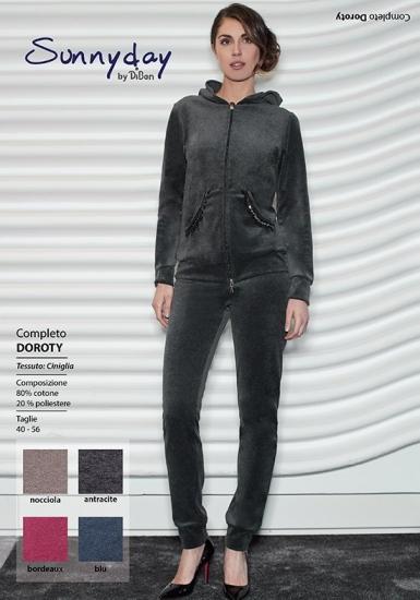 sunnyday Темно-серый велюровый костюм с капюшоном DiBen_Doroty