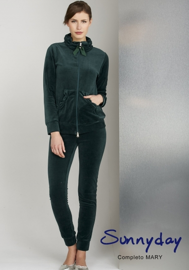 sunnyday Женский велюровый костюм темно-зеленого цвета DiBen_Mary