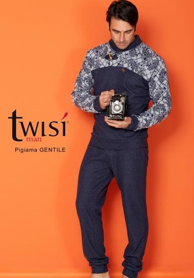twisi Стильный мужской костюм для дома синего цвета Twisi_Gentile