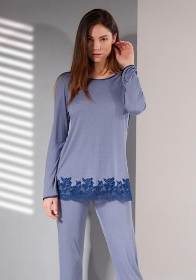 verdiani Темно-голубая пижама из модала с кружевом VI_4837
