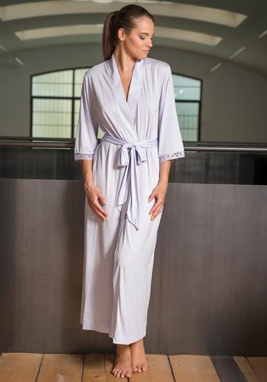 verdiani Длинный сиреневый халат из модала VI_4914