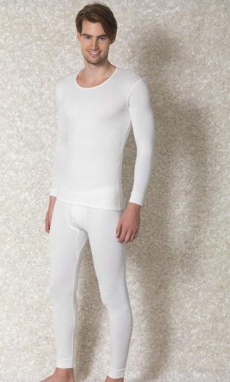 Doreanse Мужская термофутболка кремовая  с длинным рукавом 2970