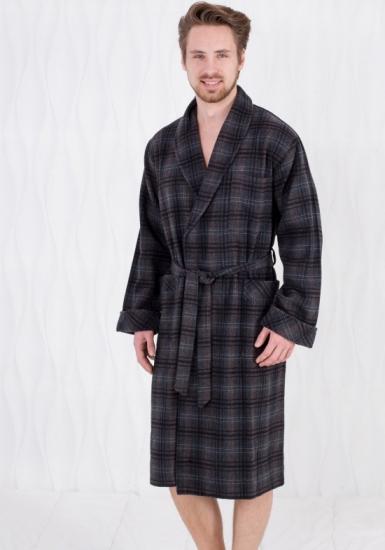 dante e maria Длинный мужской клетчатый халат с поясом D&M_23-431