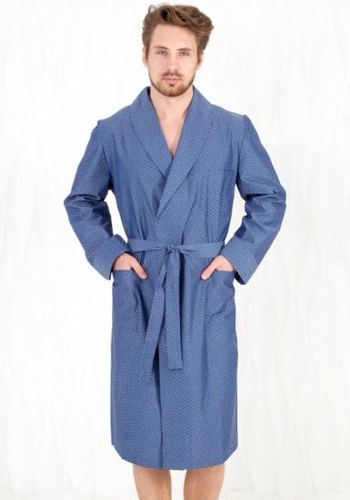 b&b Хлопковый халат для мужчин синего цвета B&B_Venezia