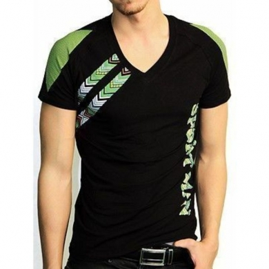 Футболка Doreanse Мужская футболка черная с зеленым принтом 2575